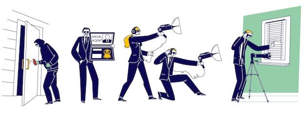 Set von männlichen und weiblichen spezialagenten, die ausspionieren, gift auf den türgriff sprühen, techniken und ausrüstung für die geheime überwachung verwenden. fbi-dienst, spionagejob. lineare menschen-vektor-illustration