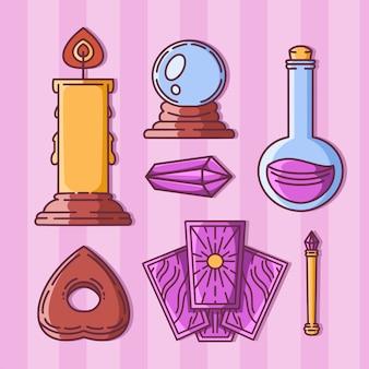 Set von magischen gegenständen, wahrsagerei und hexerei
