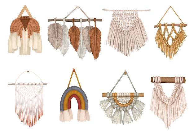 Set von makramee-wohnkultur isolierte boho makramee clipart