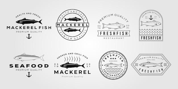 Set von makrelenfischen und sammlung von lachs gegrilltem logo-vektor-illustrationsdesign