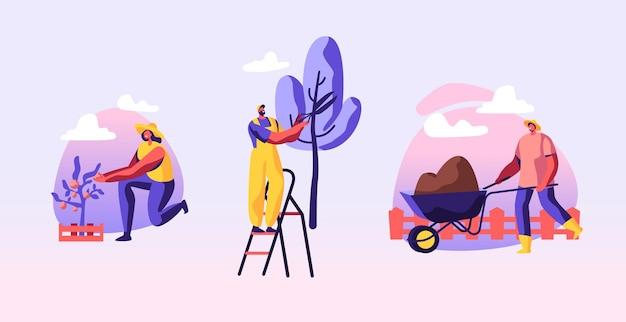 Set von mann und frau bauern, die im garten arbeiten, pflanzen pflegen, gemüse anbauen, bäume schneiden, boden auf schubkarre entfernen. karikatur flache illustration