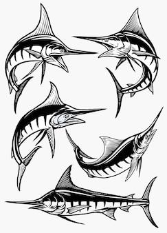 Set von marlinfischen in schwarz und weiß