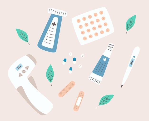 Set von medikamenten und thermometern im flachen stil