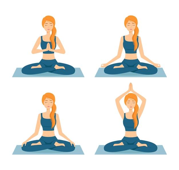 Set von meditierenden frauen. mädchen im lotussitz, die yoga praktizieren, vektorillustration