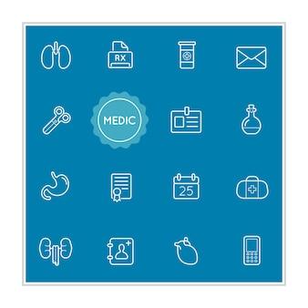 Set von medizinischen krankenhaus-vektor-illustrationselementen kann als logo oder symbol in premium-qualität verwendet werden