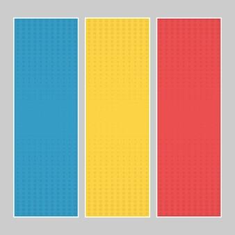 Set von mehrfarbigen pop-art-bannern. halbton-comic-vorlage mit platz für ihren text für das design. vektor-illustration