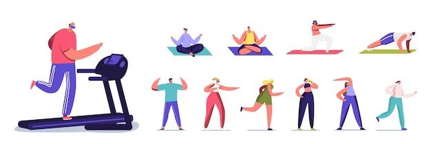 Set von menschen cardio-training im fitnessstudio. männliche und weibliche sportfiguren, die auf laufband laufen, trainieren und yoga-meditation machen, isoliert auf weißem hintergrund. cartoon-vektor-illustration