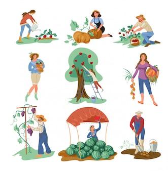 Set von menschen, die natürliche öko-lebensmittel aus dem garten sammeln