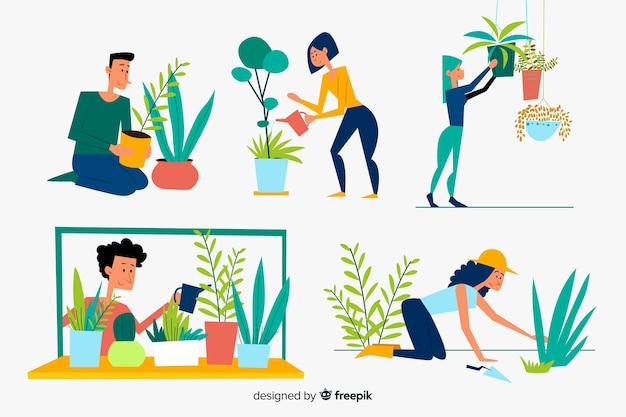 Set von menschen, die sich um pflanzen kümmern