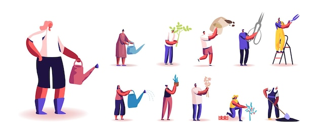 Set von menschen gartenarbeit und pflege von pflanzen hobby. männliche und weibliche charaktere pflanzen, schneiden, düngen sprossen, gießen und pflegen den garten, isoliert auf weißem hintergrund. cartoon-vektor-illustration