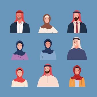 Set von menschen muslimisch in traditioneller kleidung