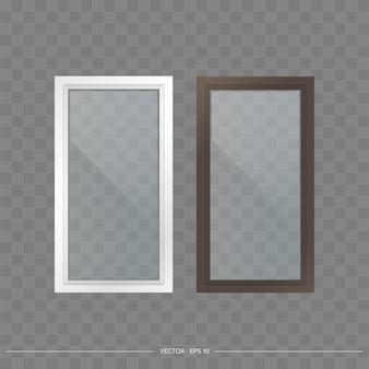 Set von metall-kunststoff-fenstern mit transparenten gläsern. moderne fenster im realistischen stil. vektor.