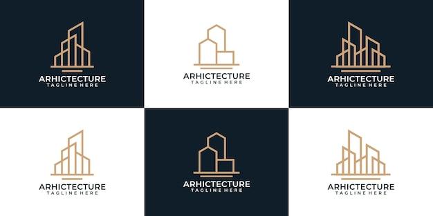 Set von minimalem monogramm-architektur-bau-logo-design-industrie-skyline-symbol