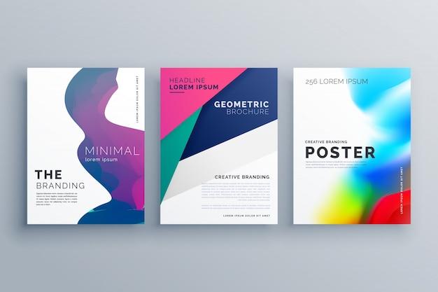 Set von minimalen prospekt vorlage prospekt flyer design in a4 größe mit geometrischen formen und flüssigkeit farben gemacht