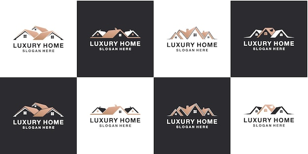 Set von minimalistischen logo-design-vorlagen für immobilien
