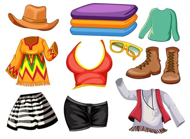 Set von mode-outfits und accessoires auf weiß