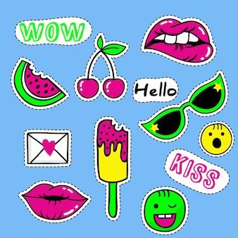 Set von mode-patches, niedlichen pastell-abzeichen, lustigen symbolen vektor im retro-konzept der 90er jahre