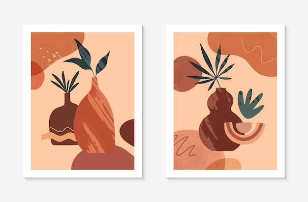 Set von modernen abstrakten vektorillustrationen mit vasen, verschiedenen organischen formen und blättern. boho-aquarell-wand-kunstdekor. trendige künstlerische designs perfekt für banner; social media, cover, tapeten.
