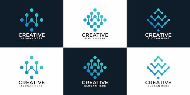 Set von modernen eleganten digitalen buchstaben w logo designs konzept inspiration concept