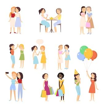 Set von modernen freundinnen in verschiedenen täglichen normalen situationen