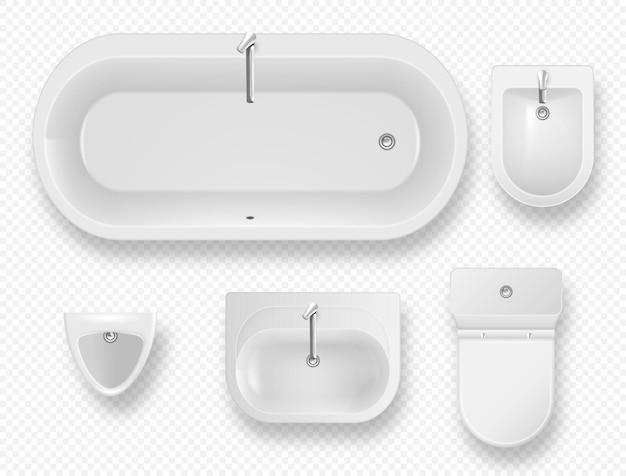 Set von modernen toilettenartikeln für die badezimmerausstattung