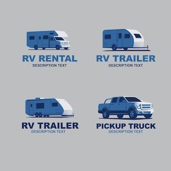 Set von monochromen wohnmobil-auto-logo-vektor-illustration