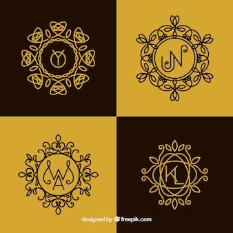 Set von monogrammen im vintage-stil