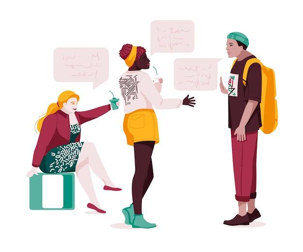 Set von multiethnischen menschen, die sprechen oder sprechen sammlung von chat-paaren mit sprechblasen männer und frauen, die sich treffen dialoge zwischen charakteren flache vektorillustration einzeln auf weiß