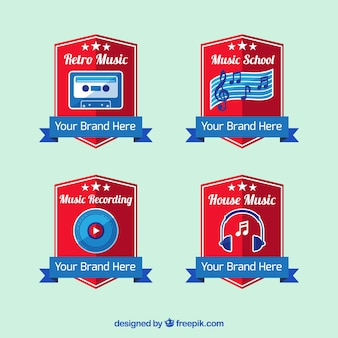 Set von musikstudio schirmt logo