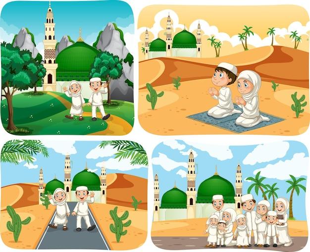 Set von muslimischen menschen cartoon-figur in verschiedenen szenen