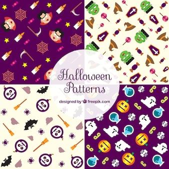 Set von mustern mit halloween-elementen in flachem design
