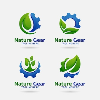 Set von nature gear logo design