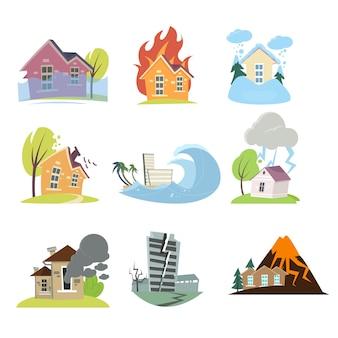 Set von naturkatastrophen mit kompositionen von wohnhäusern im freien