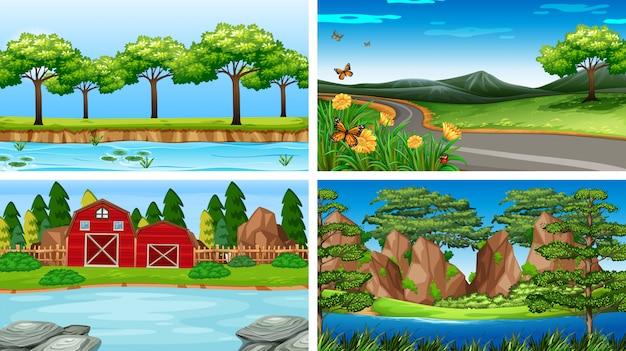 Set von naturszenen