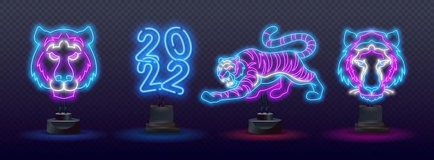 Set von neon blue water tiger 2022. neon chinese new year 2022 jahr des tigers, strichzeichnungen, neon-stil auf schwarzem hintergrund.