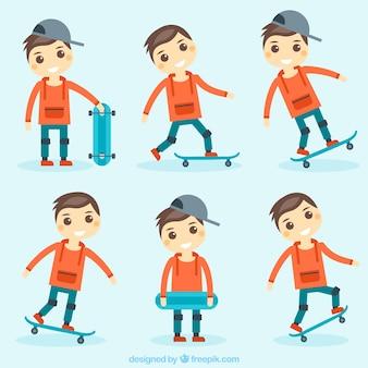 Set von netten jungen und skateboard