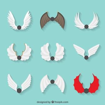 Set von neun flügeln mit verschiedenen arten von designs