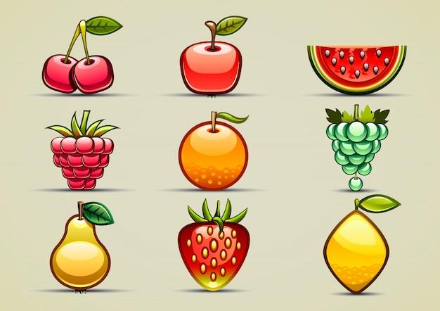 Set von neun früchten