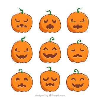 Set von neun variationen von halloween-kürbis in einem flachen design