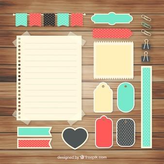 Set von niedlichen accessoires für scrapbooking