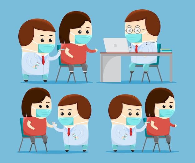 Set von niedlichen ärzten, die einem patienten einen impfstoff injizieren, zeichentrickfilm-kunstillustration