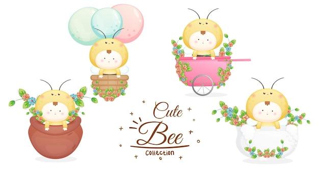 Set von niedlichen babys in der bienenkostümkollektion. maskottchen-karikaturillustration premium-vektor