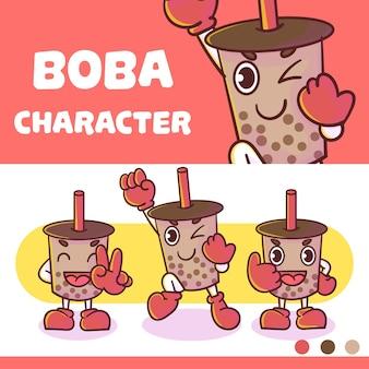 Set von niedlichen boba charakter mit optionalem aussehen.