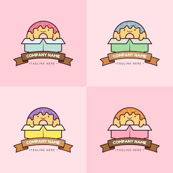 Set von niedlichen bunten donut-maskottchen in verschiedenen farbboxen in rosafarbenem hintergrund