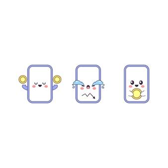 Set von niedlichen cartoon smartphone niedlichen charakteren niedlichen gerät kryptomünzen vector flat style cartoon