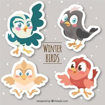Set von niedlichen comic-vogel aufkleber