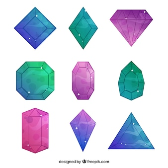 Set von niedlichen diamanten mit abstrakten farben