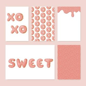 Set von niedlichen Donutkarten.