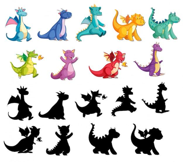 Set von niedlichen drachen