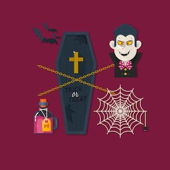 Set von niedlichen halloween-elementen